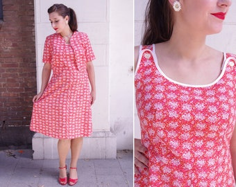Vtg Red 60s Flower Dress 2-pc Set M/L // Vintage Sixties Dress and Jacket set - 32'' waist