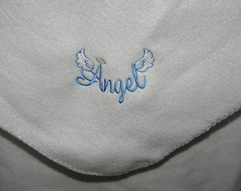 Baby Blanket Embroidery ANGEL with WINGS Made to Order