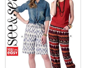 See and Sew B6348 Misses' Cargo Shorts & Drawstring-Hem Loungewear