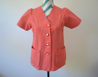 Vintage 1950s Red & White Plaid Blouse Short Sleeve Button Down Retro Shirt Rockabilly Picnic Check Shirt with Pockets