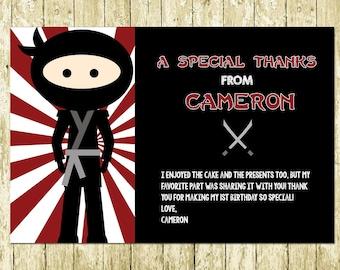 Ninja Warrior Digital Chalkboard Thank You Cards