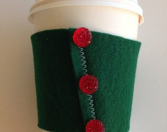 Christmas Themed Felt Coffee Cozy