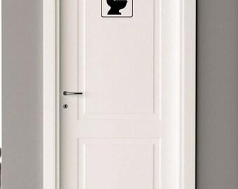 Toilet Icon Decal for Bathroom Door - Home Decor - Gift Idea - Bathroom SIgn