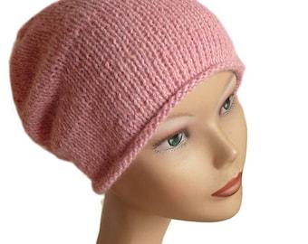 Women's Beanie Hat / Slouch Beanie / Womens Knit Hat / Women's Beanie / Light Pink Beanie / Slouchy Beanie / Powder Pink Beanie