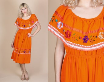 70s Boho Mexican Dress - Large // Vintage Embroidered Hippie Off Shoulder Peasant Midi