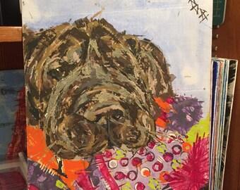 Shar pei painting // Sleepy Sharpei //  pet portrait  //  Chocolate brown sharpei // dog portrait // Embrace wrinkles :) // and slobber !!