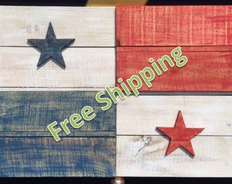 Rustic Panama Flag Constructed from Reclaimed/Repurposed Wood (Free Shipping)