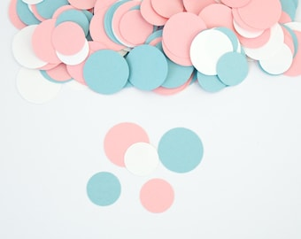 Baby Shower Decoration -  Circle Confetti - Gender Reveal Baby Shower