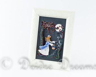 Fairy Tale Shadow Box, Folk Art, Primitive Art, Will o the Wisps Wall Art, Fantasy Diorama, Polymer Clay Wall Hanging, Goth Storybook Art