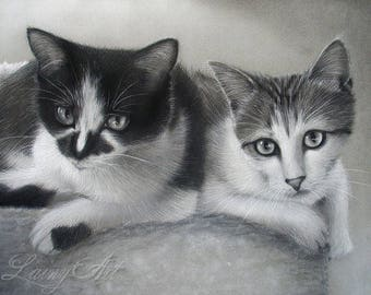 CUSTOM Pet Drawing of Two - From your photo - 8x10 - Realistic Hand drawn fine art - Charcoal portrait - Canine, Puppy, pet portrait