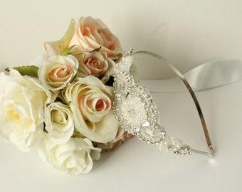 Rhinestone and Pearl Bridal Headband / Rhinestone Bridal Headpiece / Bridal Headband / Bridal Headpiece / Rhinestone Headband / SQH-1