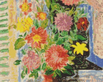 Flowers Cross Stitch Kit, Grand Bouquet Cross Stitch, Embroidery Kit, Art Cross Stitch, Floral Cross Stitch, Moise Kisling
