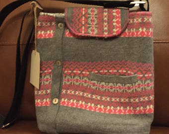 Pink and grey upcycled sweater bag