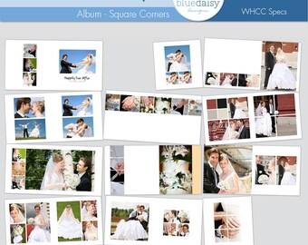 10x10 Contemporary Style Wedding Album SQUARE Corners - Photographer Templates