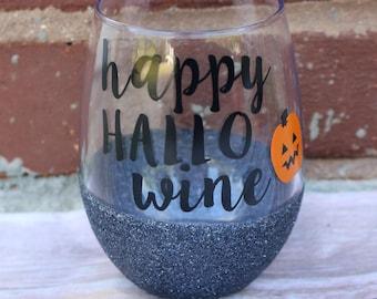 Happy HalloWINE Glitter Wine Glass, Glitter Wine Glass, Halloween Wine Glass, Funny Halloween Glass, Pumpkin Wine Glass