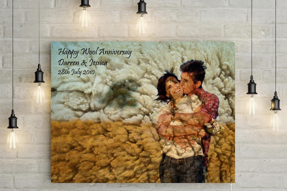 Wool 7th Wedding Anniversary Custom Couples Portrait Photo