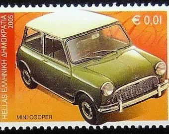 Mini Cooper Classic Car -Handmade Framed Postage Stamp Art 0271AM