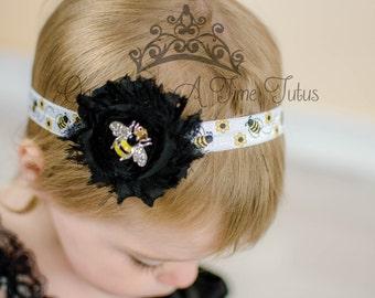 Bumble Bee Printed Headband - Birthday Photo Prop - Yellow Black White Baby Girl Hair Bow - Toddler Little Girls Hairbow - BumbleBee Bow