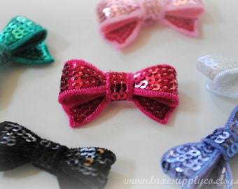 "Mini Sequin Bow Appliques 1.4"" - Your Choice of 16 Colors! You choose Quantity - Wholesale Discount - Tiny Sparkle Bows - DIY Headbands"