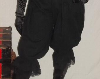 custom size black pantaloons with black lace.