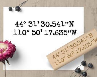 Custom Coordinates Stamp, Custom Location Stamp, GPS Stamp, Latitude Longitude Stamp, Geocache Stamp, Rustic Wedding Favor Outdoor Stamp 162