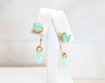 Sea foam green crystal ear jacket earrings - two in one - sea foam green earrings - mint green earrings