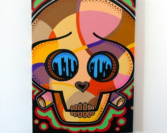 Skull Mosaic / Day of the dead Art Canvas