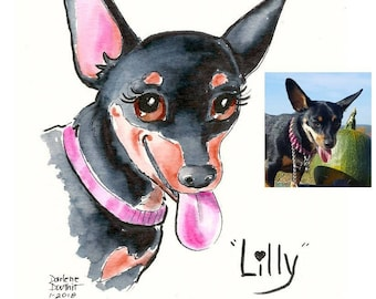 Custom Color Brush-Pen & Ink Mix Pet Caricature from your photo