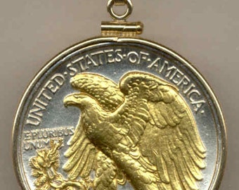 Necklace - 2-Toned Gold on Silver Old U.S. Walking Liberty half dollar (Eagle)  Necklace