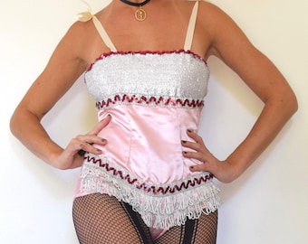 Vintage 60s 70s Sugar Plum Fairy Pink Satin Sequined Leotard with Textured Metallic Silver Bodice and Fringe Trim