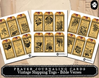 Scripture Printable - Vintage Shipping Tags Bible Verses - 3 Pg Instant Download - prayer journaling, bible journaling, bible verses diy
