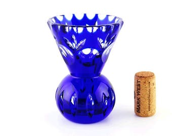 Vintage Glass Small Bud Vase, Blue Cobalt Cut to Clear Crystal, Mother's Day Gift, Bohemian Decor Circle Design Pinwheel Bottom Bottle