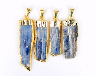 Blue Kyanite Bar Pendant with Electroplated 24k Gold Cap and Bail and Edge (S14B2-07)