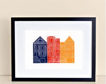 San Francisco Painted Ladies Linocut Block Art Print California Bay Area Victorian Architecture 8x10 4x6 artwork