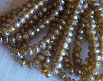 3x5mm Fire Polished Rondelle - Amber with Mercury Finish - Premium Czech Beads - Bead Soup Beads - Czech Beads