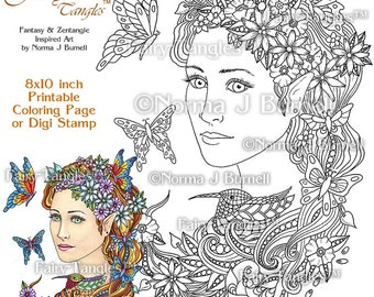 Nesting Time - Fairy Tangles Printable Coloring Book Pages by Norma J Burnell Coloring Book Sheets for Adult Coloring for Grownups Fairies