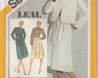 Skirt Pattern Blouse Jacket 1980s Suit Misses Size 16 uncut Simplicity 9928