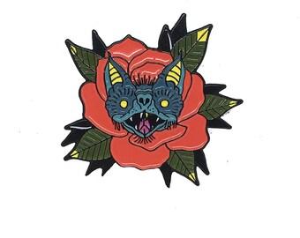 Bat Rose Lapel Pin