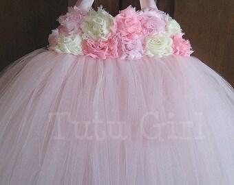 Pink Flower Girl Dress, Pink Ivory Tutu Dress