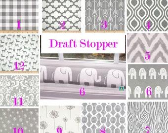 Grey Draft Stopper - Window Snake - Door Snake - Draft Blocker - Door Stopper - Draft Stopper - Draft Blocker - Unfilled - Door Snake