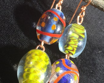 Blown Glass Mismatched Earrings