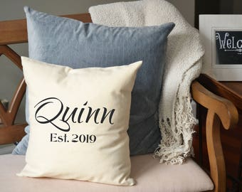 Cotton anniversary, Housewarming gift, Personalized pillow , anniversary gift, wedding, newlywed pillow, 2nd Anniversary, walker