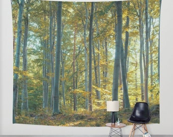 high quality wall tapestry, oversized wall art, forest tapestry, tree tapestry, wall tapestry, nature tapestry, trees, yellow tapestry