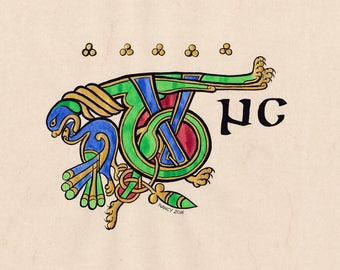 Celtic medieval illumination of a TUNC from the Book of Kells, 15 x 20 cm photo paper print