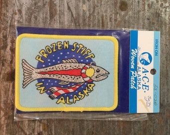 Vintage New Deadstock ACE Alaska Woven Patch Sew On Arctic Circle Ent Eagle