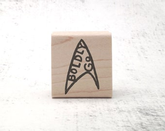 The Boldly Go 2.0 Stamp - Trekkie Pen Pal and Stationary Stamp - Teacher's Grading Inspirational Phrase Rubber Stamp