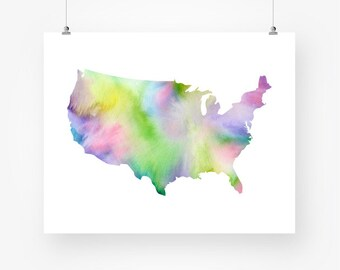 usa map watercolor printable united states map of us blue purple and green abstract wall art decor digital print instant download jpg pdf