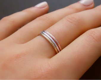 Set Of 3 Rings - Rose Gold, Yellow Gold, Sterling Silver, 3 Skinny Ring Set, Stacking Ring, Gold Filled  Rings, Stacked Ring Set, Thin Ring