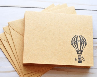 Hot Air Balloon Note Cards // Set of 4 // Blank Cards // Thinking of You // Just Because // Love Letter // Stationary Set