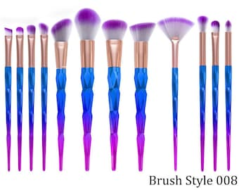 12 Piece Metallic Pink Purple Blue Ombre Makeup Eyeshadow Brushes Style 008